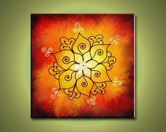 Rangoli Art - Abstract Print Mounted and Ready to be hung.  Yoga and Meditation Art. Free Shipping inside US.
