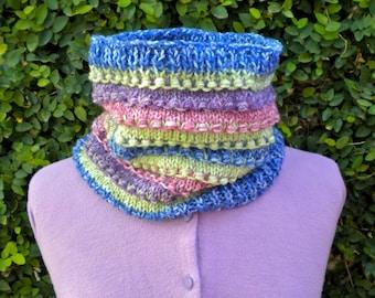 Cowl Neckwarmer Knit Multicolor Stripe Lightweight