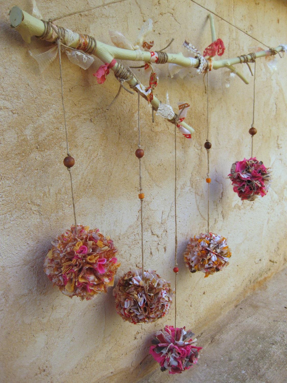 handmade fabric pompom mobile baby room decor pompom nursery On room decor ideas handmade