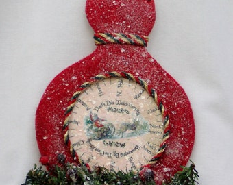 Primitive Christmas Ornament Santa's Magical Watch