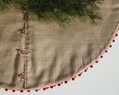 Scandinavian Christmas Tree Skirt - Rustic Burlap Tree Skirt with Wood Buttons