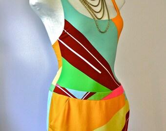 GIANNI VERSACE COUTURE Vintage Silk Suit 3 Piece Colorblock Dress Belt Jacket - Authentic -