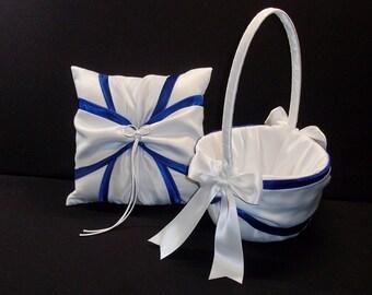 Royal Blue & Ivory or White  Wedding Ring Bearer Pillow  Flower Girl Basket 2 Piece Set