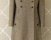 vintage tweed SWEETHEART back brown wool herringbone coat