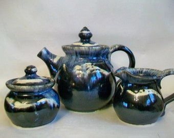 Teapot, Cream and Sugar  - Set - Slate and Cream - 3-fired - Handmade