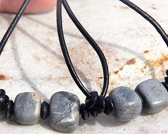 Natural Stone Boho Earrings - Gray Jasper on Large Black Leather Hoops - Sterling Dangle Earrings - Handmade in Canada