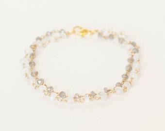 Labradorite Bracelet Moonstone Jewelry Gemstone Gem Stone Boho Bohemian Layering Layered Stacking Minimalist Dainty Womens Gift For Her