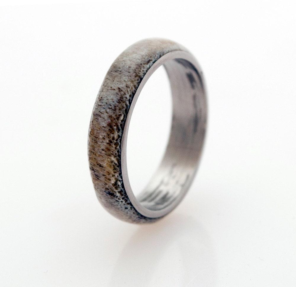 anter ring titanium ring and antler wedding band ring