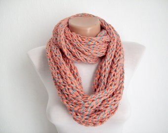 Knit Finger Scarf,chain loop scarf,infinity Scarf,Necklace