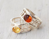 Yellow Citrine Ring, 925 Silver Wide Band Yellow Gemstone Solitaire Designer Statement Ring, Citrine Jewelry, November Birthstone Ring Gift