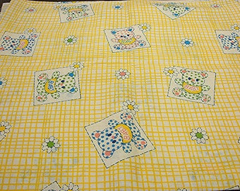 "1960s Fabric Baby Animal Fabric Vntage Juvenile Fabric Novelty Print Fabric 36"" width Yellow Gingham Fabric by the yard"