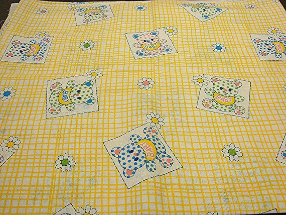 """1960s Fabric Baby Animal Fabric Vntage Juvenile Fabric Novelty Print Fabric 36"""" width Yellow Gingham Fabric by the yard"""