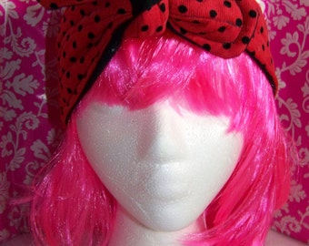 Red - Black Polka Dots - Headband - Tie back - 4 inches Wide - Rosie the Riveter