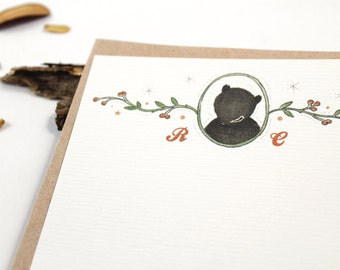 10 Personalized Notecards - Hello, Thank You Bear