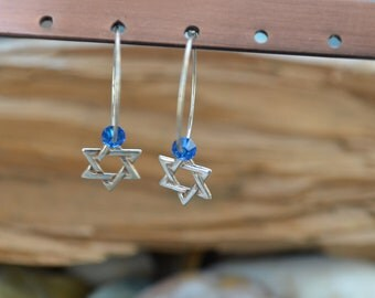 Star of David Earrings - Magen David - Jewish Star - Sterling Silver - Bat Mitzvah Gift - Judaica Jewelry,12th Birthday