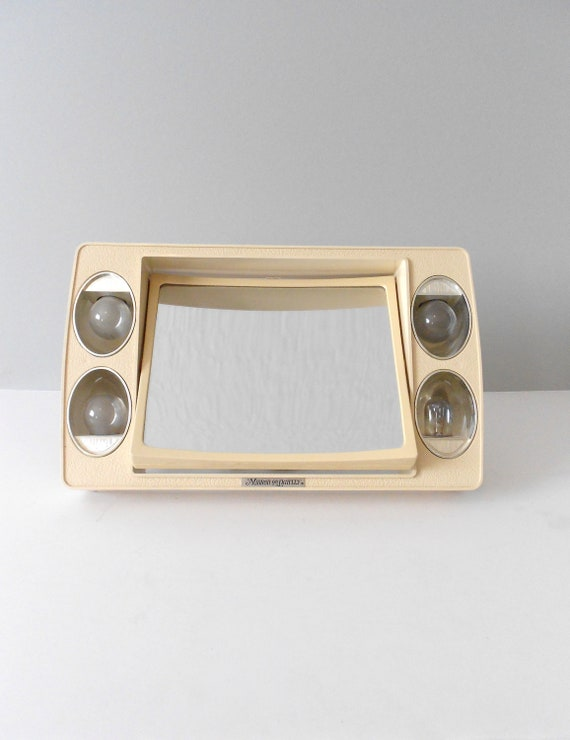 Retro Beige Portable Electric Lighted Vanity Mirror By