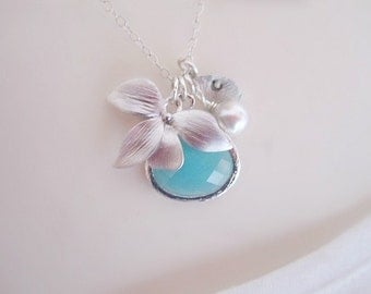 Aquamarine Necklace, Orchid Necklace, Flower Necklace, Initial Necklace, Personalized Necklace, Mothers Necklace, Initial Jewelry, Pendant