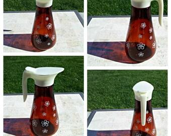 Groovy Vintage Syrup Pitcher Dispenser - White Daisies Flower Power
