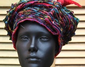 Colourful Black Crochet Hat with an Exquisite Felt Hat Pin...