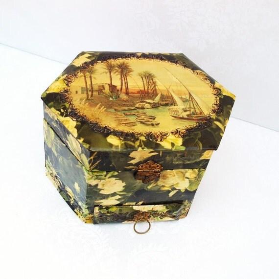Antique Presentation Box, Victorian Celluloid, Collar Box, Jewelry Box, Landscape Lithograph Art , Yellow  Roses