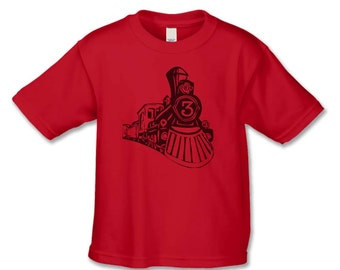 Train Number 3 Birthday T-Shirt -  3rd Birthday Shirt  for Train Party -  Birthday Shirts - Choose your number