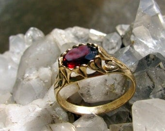 SALE 14k Gold Heart Leaf Engagement Ring with Garnet Gemstone Wedding, Nature Inspired, Eco Friendly