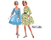 1960s Party Dress Pattern Bust 32 Uncut McCalls 7186 Full Skirt Rockabilly Dress Evening Cocktail Scoop Neck Womens Vintage Sewing Pattern