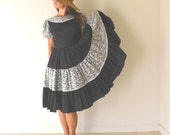 Circle Swing Dress 40s 50s Vintage Square Dancing Dress Black White Lace Small