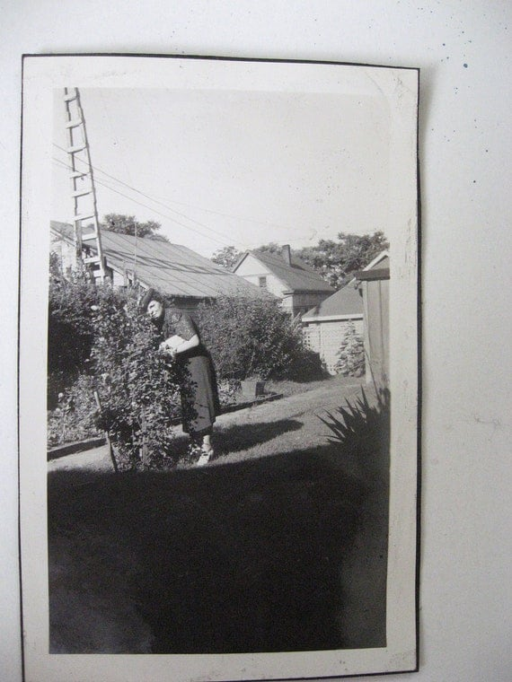 Ladder to Nowhere... Vintage Photo... 1920's Snapshot Photograph