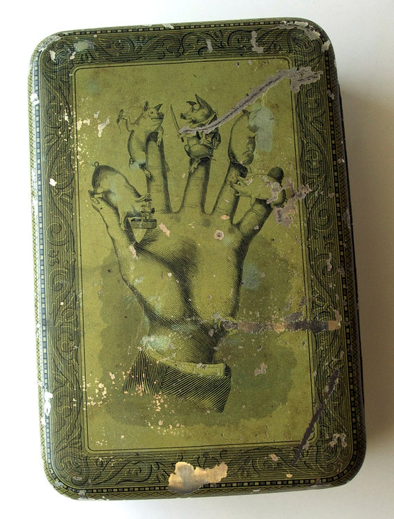 Antique Tin Box, Little Piggies in Hand, 1879, Somers Bros., Brooklyn, NY
