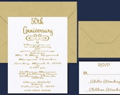 50th Anniversary Invitation, Metallic Paper, Golden Anniversary Invitations with gold metallic envelopes, listing for sample invitation