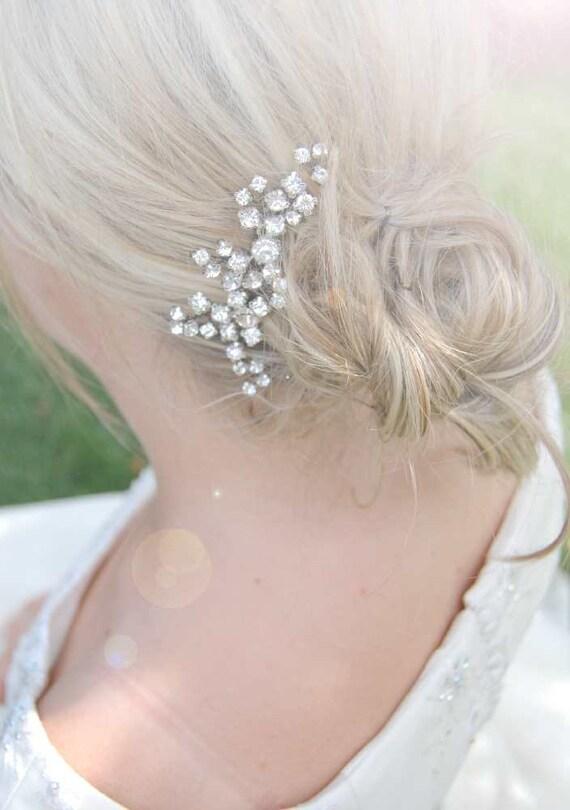 Braut haarschmuck strass  Braut Kristall Haarkamm Hochzeit Haarschmuck Silber