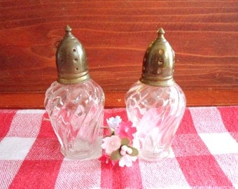 Swirl Glass Salt & Pepper Shakers, Sterling Silver Bell Top Shakers, Miniature Salt and Pepper Set
