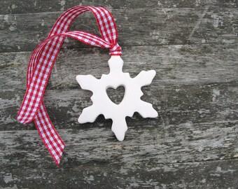 Ceramic Christmas decoration white Snowflake red gingham ribbon holiday ornament