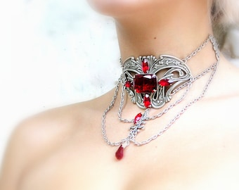 Red Gothic Choker Ruby Red Jewels on Silver Choker Gothic Victorian Jewelry