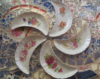 Set of 5 Bone Dish Vintage Floral