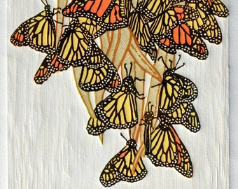 A Flutter of Monarchs - Linocut Print, Original Art, 6-Color 7x7, Hand-carved, Hand-Pulled