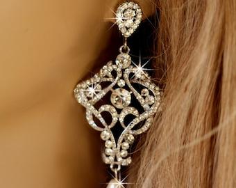 Bellarosa wedding chandelier drop Swarovski crystal and pearl  bridal earrings