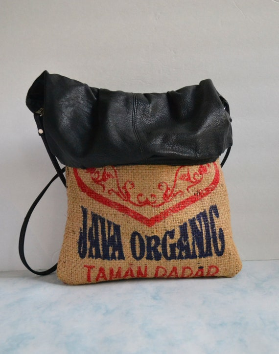 Repurposed Coffee Burlap Bag Coffee Bean Bags Leather