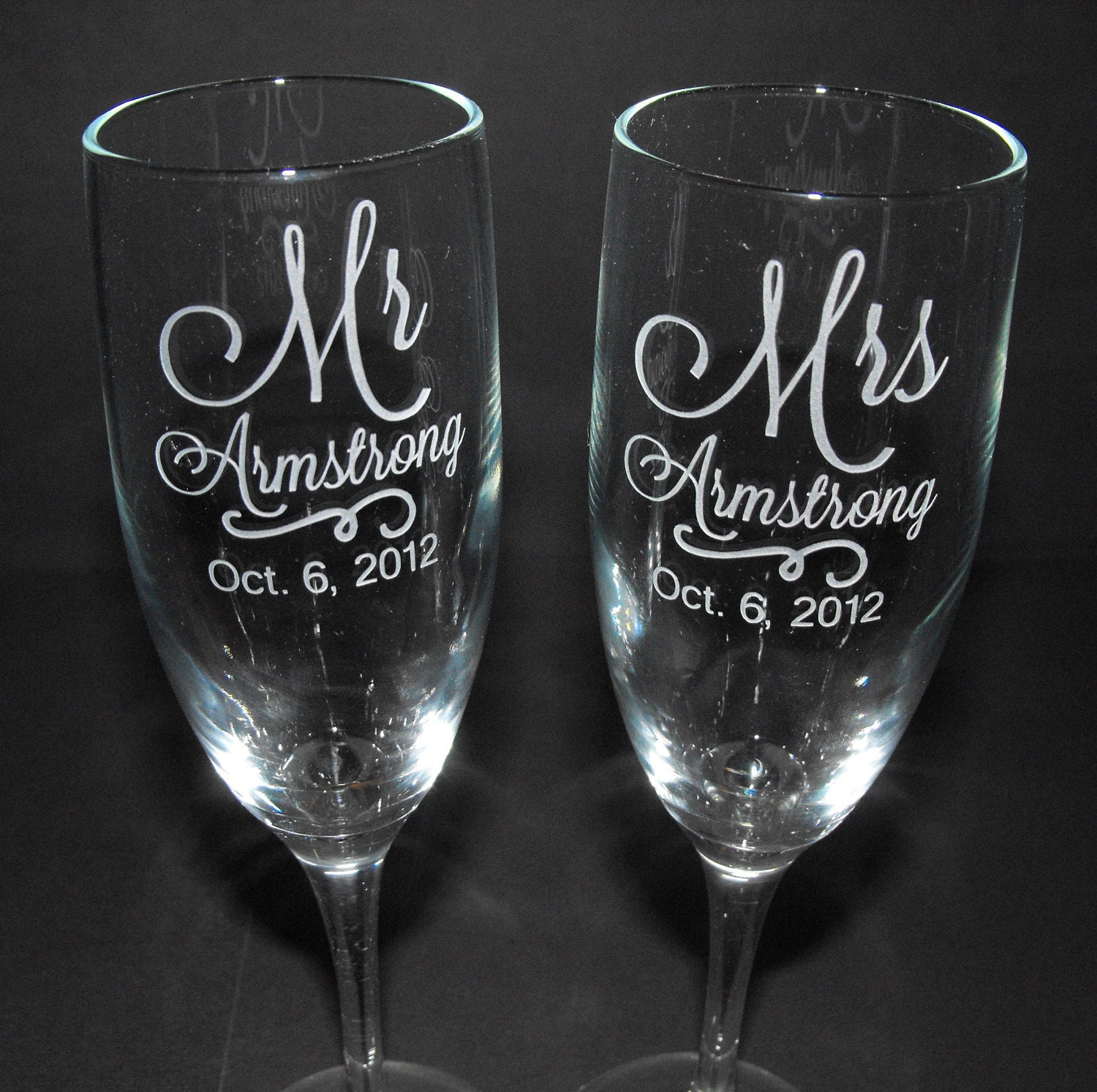 How Many Wine Glasses For Wedding Gift : Personalized Wedding Champagne Flutes CUSTOM ENGRAVED