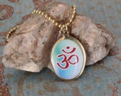 Om Shiva Necklace, Om Necklace, Shiva Necklace, Sanskrit Om, Dual Sided Pendant, Yoga Necklace, Hindu Necklace, Hindu Jewelry
