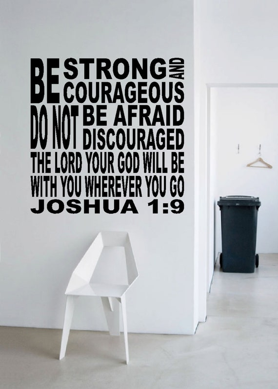 Joshua 1:9 Christian Subway Art-Religious Bible verse Vinyl wall decor- Be Strong and Courageous JOS1V9-0005