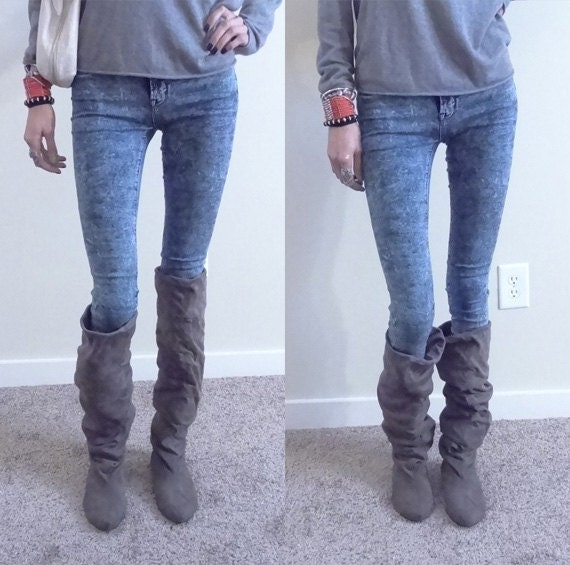 Knee High Grey Suede Slouchy Boots