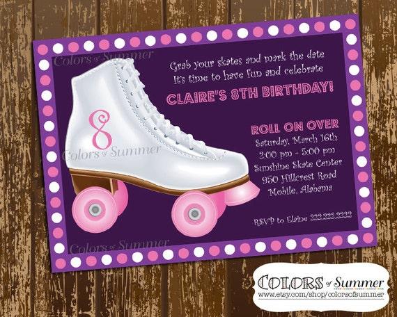 Roller Skate Birthday Invitation Skate Party Invitation