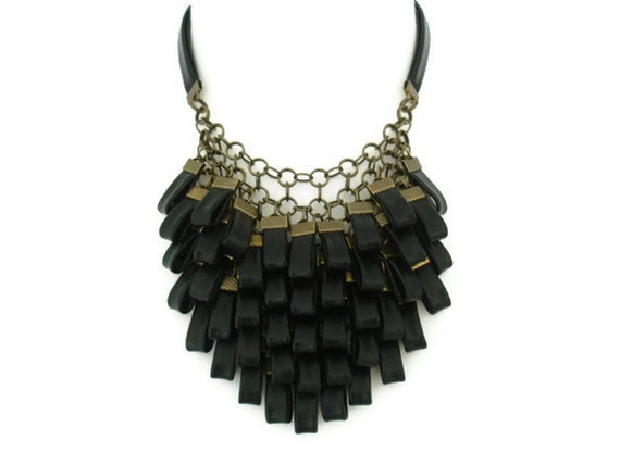 Black leather cluster statement necklace leather jewellery leather