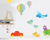 wall art, Nursery Art, Origami, illustration, Children Decor, vinyl sticker, flying balloon