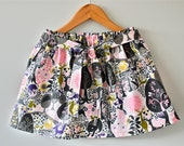 Little girl's gathered skirt in modern woodland print // comes with matching sash belt