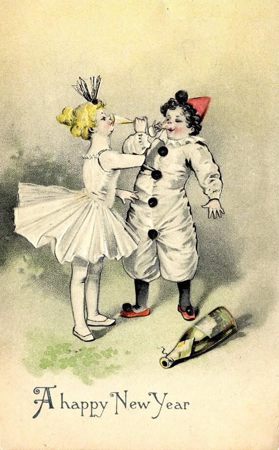 New Year Clown & Ballerina Vintage Postcard - Embossed 1912