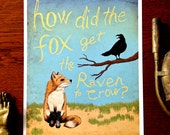 8x10 The Fox and The Raven Illustrated Art Print Free Shipping