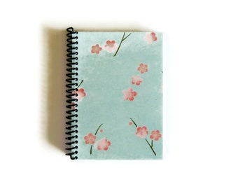Cherry Blossoms Mint Green Spiral Notebook, Blank Pocket Sketchbook, 4x6 Inches, A6 Spiral Bound Writing Journal Diary Draft, Gifts Under 15